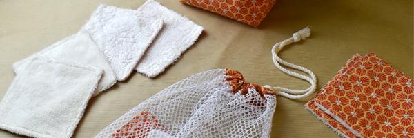 Lingettes démaquillantes lavables, panier de rangement et filet, idéal pour commencer